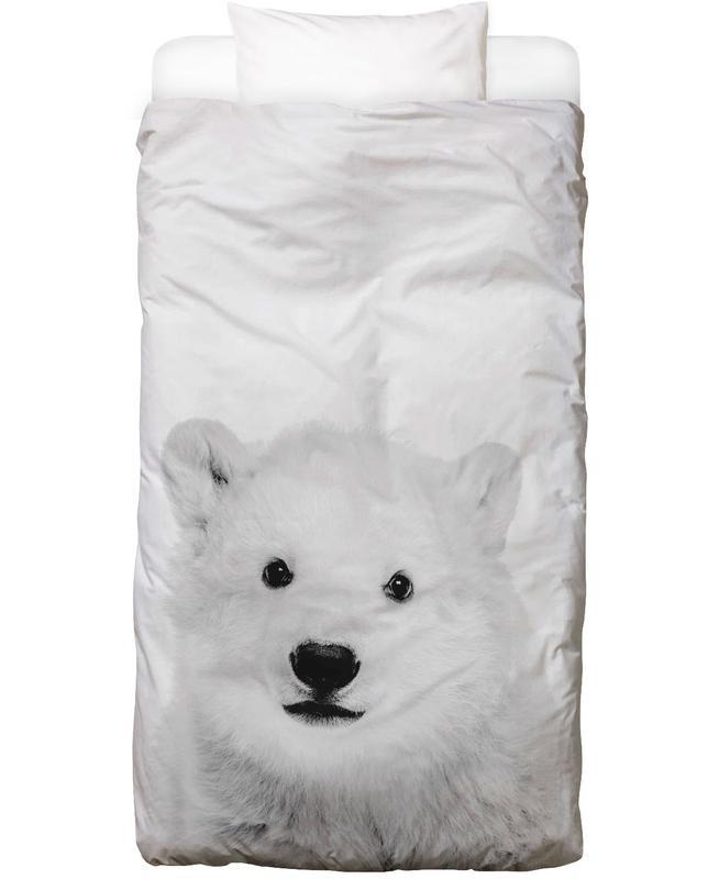 Ours, Noël, Art pour enfants, Noir & blanc, Polar Bear Classic Linge de lit