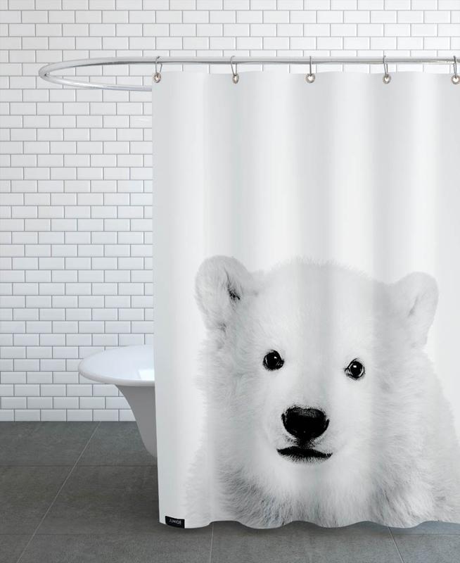 Kinderzimmer & Kunst für Kinder, Bären, Schwarz & Weiß, Weihnachten, Polar Bear Classic -Duschvorhang