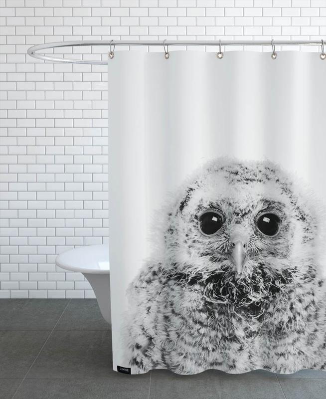 Kinderzimmer & Kunst für Kinder, Eulen, Schwarz & Weiß, Weihnachten, Owl III Classic -Duschvorhang