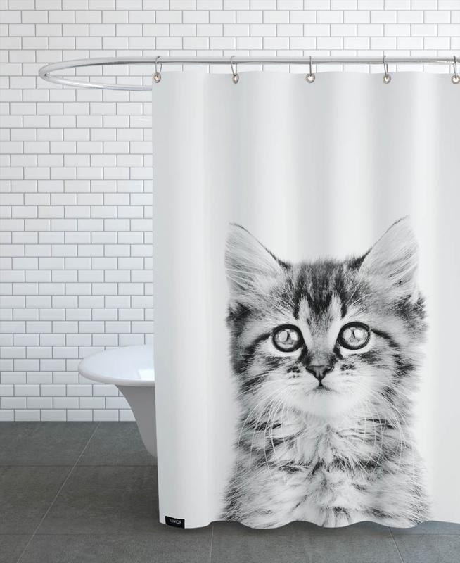 Kinderzimmer & Kunst für Kinder, Katzen, Schwarz & Weiß, Kitten Classic -Duschvorhang