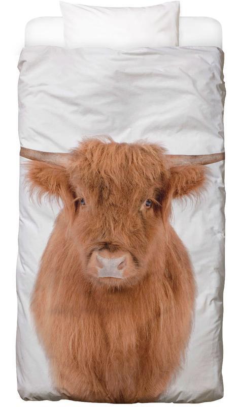 Kühe, Kinderzimmer & Kunst für Kinder, Young Highland Cow -Kinderbettwäsche