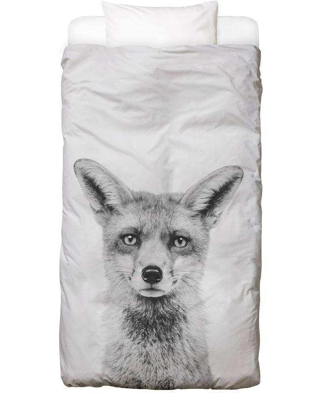 Noël, Art pour enfants, Noir & blanc, Renards, Fox Classic Linge de lit