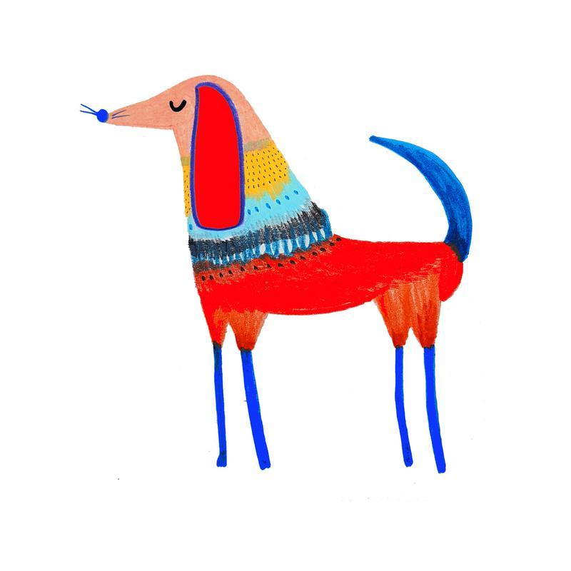 Dog Red canvas doek