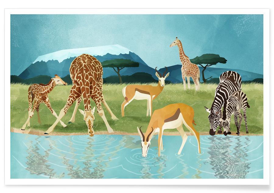 Art pour enfants, Animaux de safari, Savanna affiche