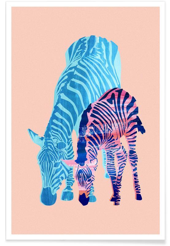 Art pour enfants, Zèbres, Striped Love affiche