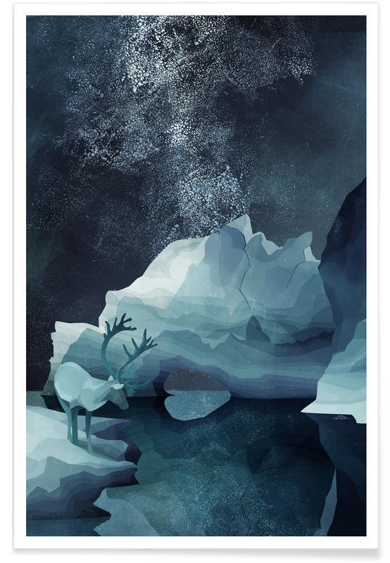 Cerfs, Rheindeer By Night affiche
