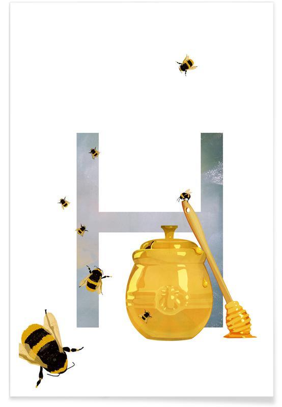 Nursery & Art for Kids, Bees, H Honey Poster