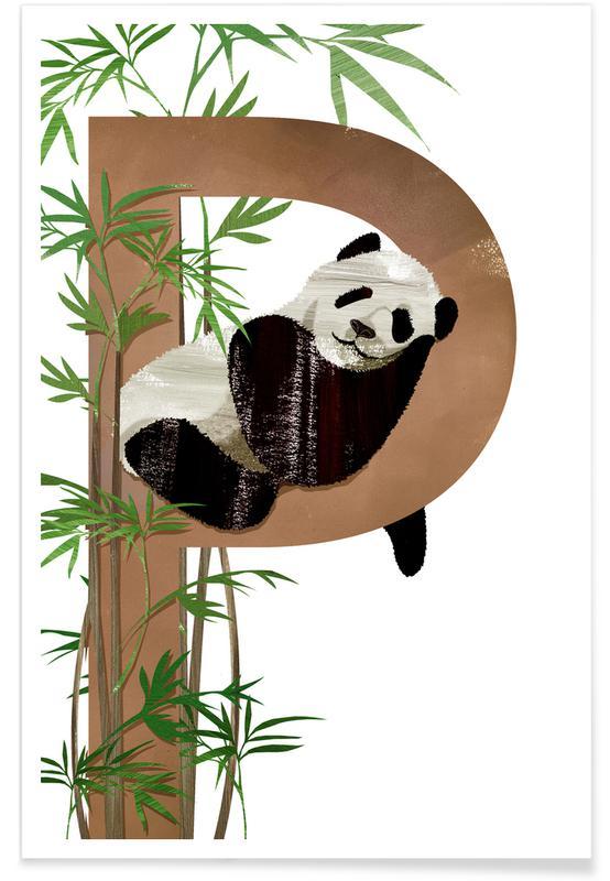 Art pour enfants, Pandas, P Panda affiche
