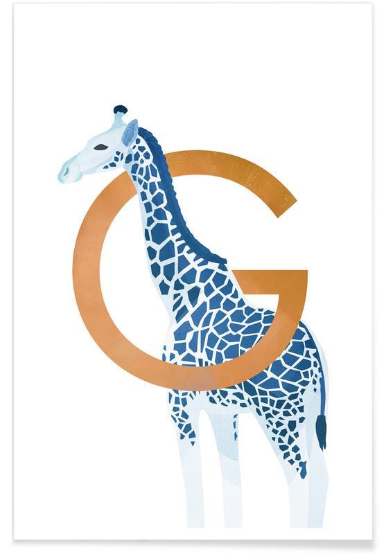 Girafes, Art pour enfants, G Giraffe affiche