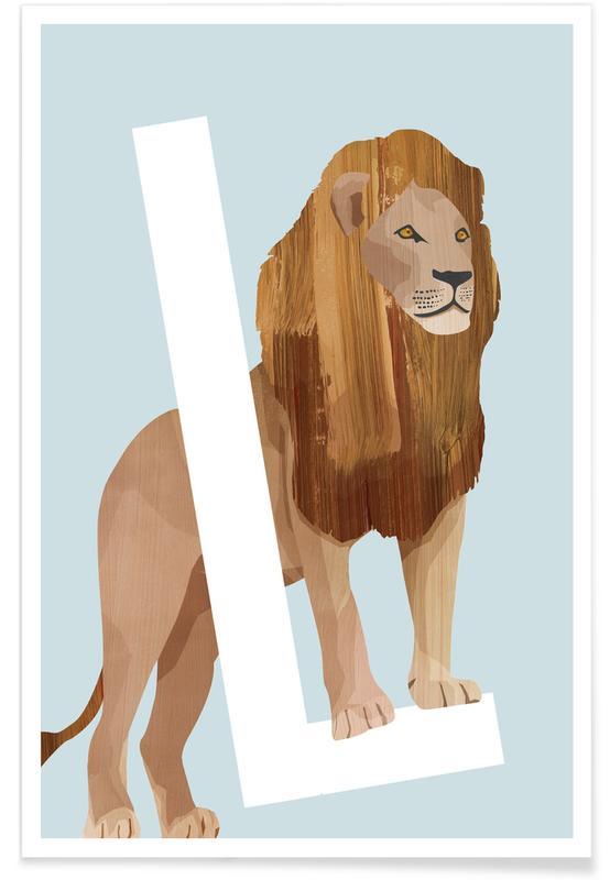 Børneværelse & kunst for børn, Safari dyr, L Lion Plakat