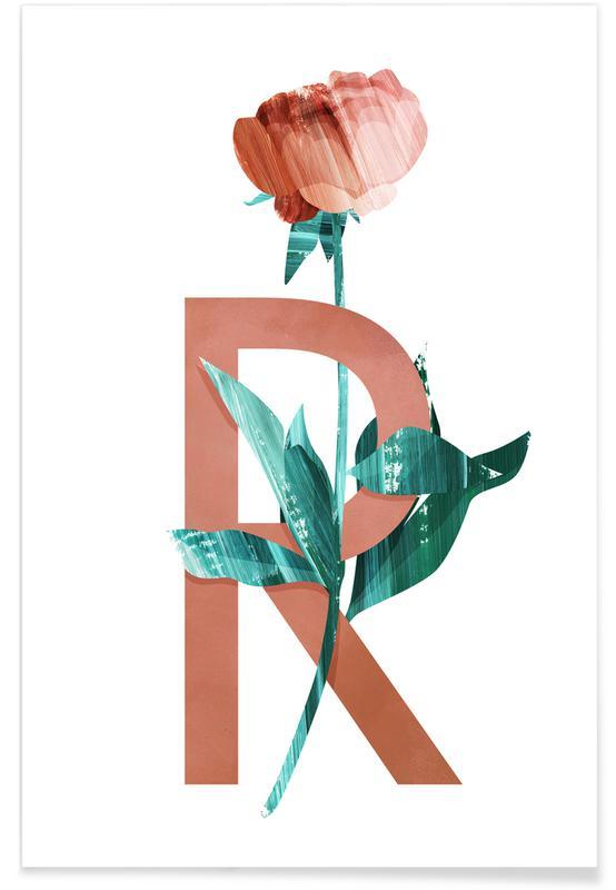 Rosen, Kinderzimmer & Kunst für Kinder, R Rose -Poster