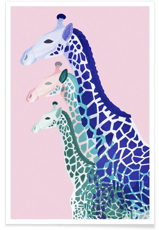 Giraffes Pink Poster