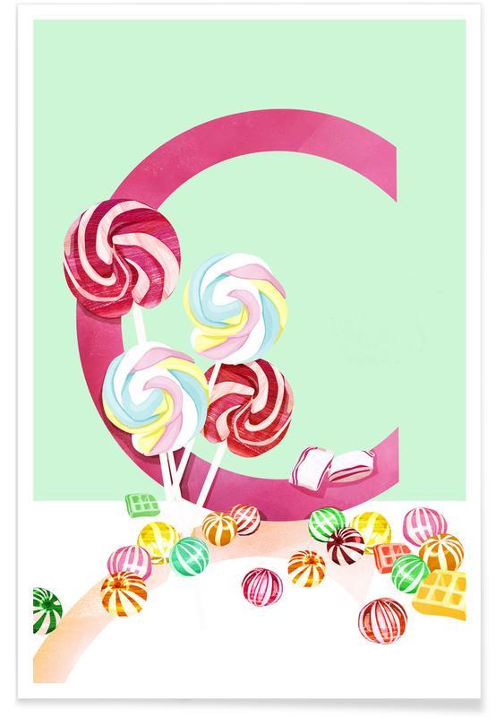 Kinderzimmer & Kunst für Kinder, C Candy -Poster