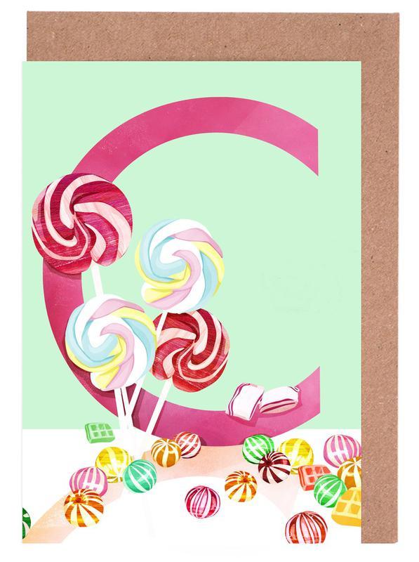 Kinderzimmer & Kunst für Kinder, C Candy -Grußkarten-Set