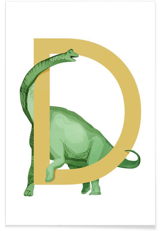 Nursery & Art for Kids, Dinosaurs, D Dino Poster