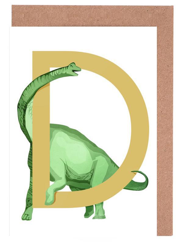 Dinosaurier, Kinderzimmer & Kunst für Kinder, D Dino -Grußkarten-Set