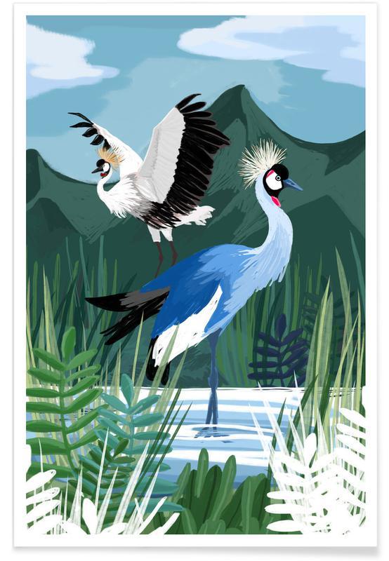 Cranes, Cranes In The Water Poster