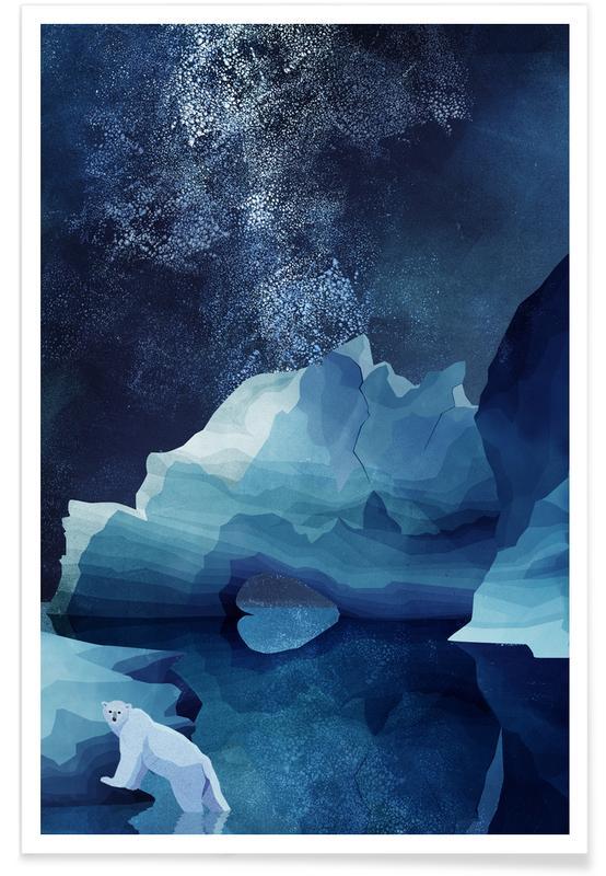 Beren, Kunst voor kinderen, Polar Bear by Night poster