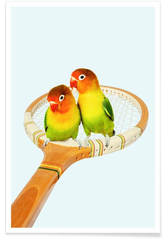 Art pour enfants, Humour, Perroquets, Retro Birds affiche