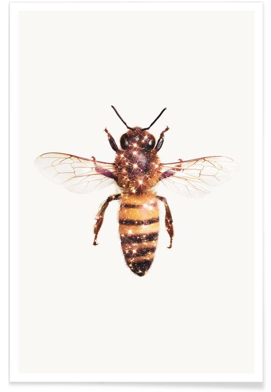 Nursery & Art for Kids, Bees, Funny, Glitter Bee Poster