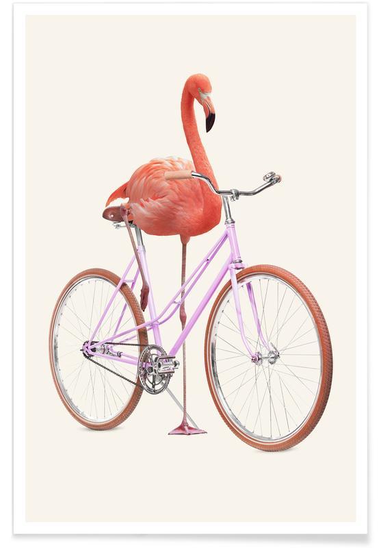 Flamants roses, Art pour enfants, Humour, Flamingo Bike affiche