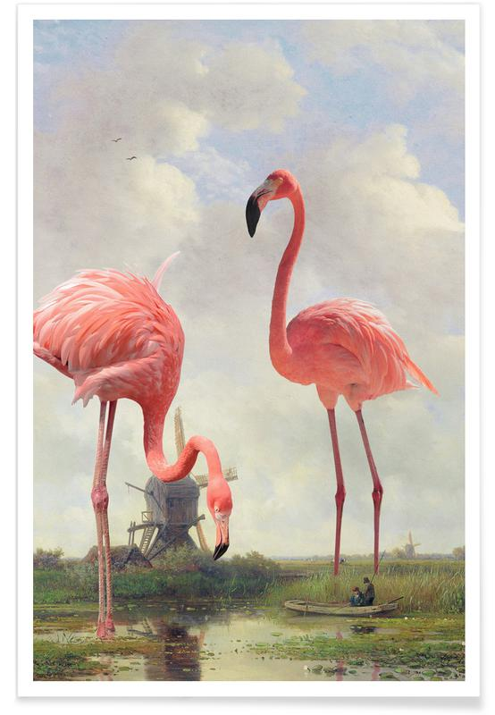 Fishing With Flamingos Poster