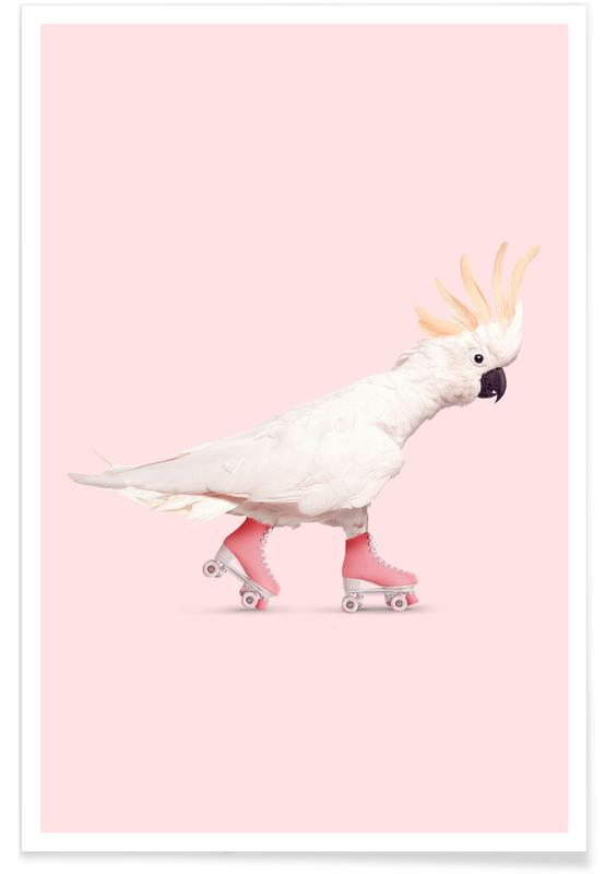 Rollerskating Cockatoo -Poster