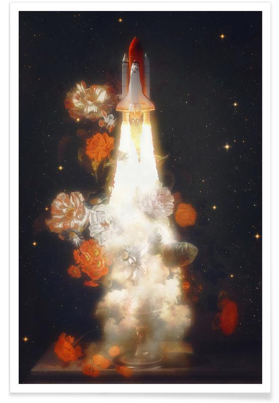 Space Shuttle & Flowers poster