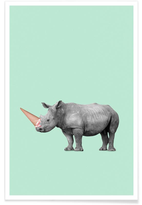 Is, Næsehorn, Ice Cream Rhino Plakat