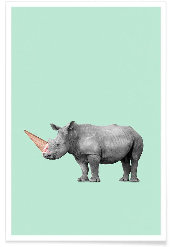 Ice Cream Rhino -Poster