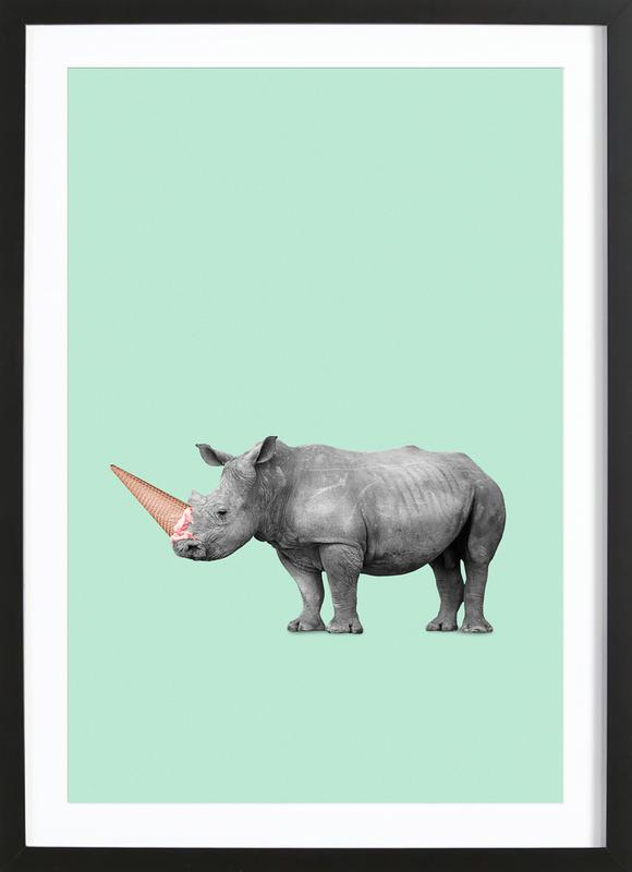 Ice Cream Rhino Framed Print