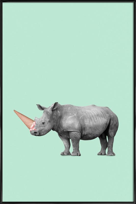 Ice Cream Rhino Framed Poster
