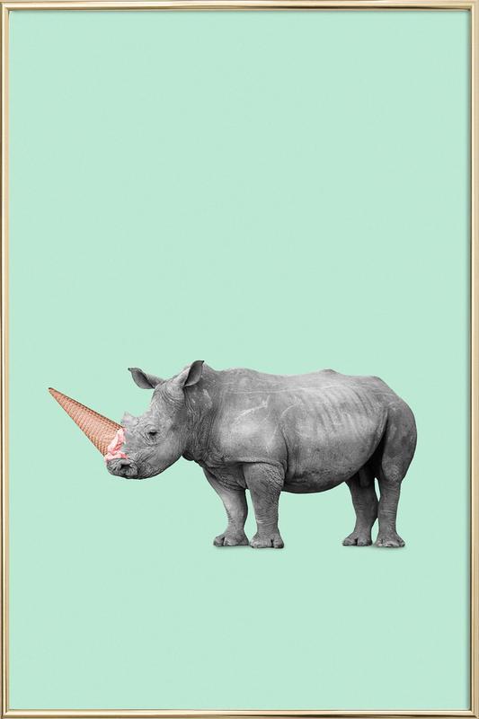Ice Cream Rhino -Poster im Alurahmen