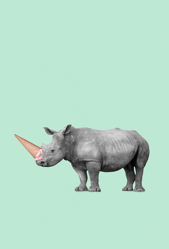 Ice Cream Rhino Aluminium Print