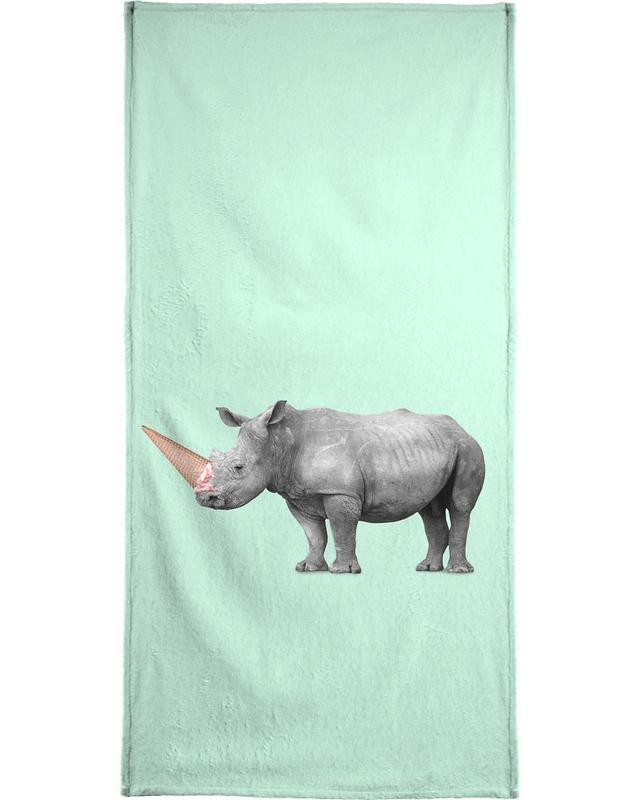 Ice Cream Rhino Beach Towel