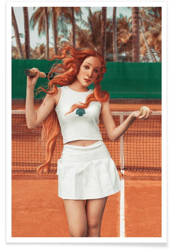 Tennis, Venus Playing Tennis Plakat