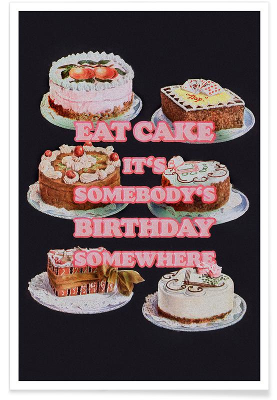 Funny, Eat More Cake Poster