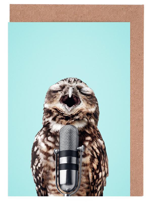 Owls, Birthdays, Funny, Owl Mic Greeting Card Set