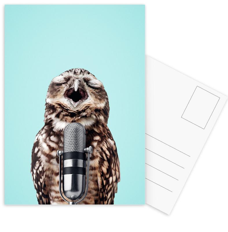 Chouettes, Anniversaires, Humour, Owl Mic cartes postales