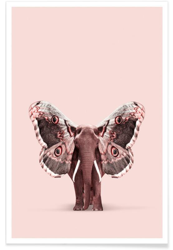 Humour, Papillons, Éléphants, Papillophant affiche