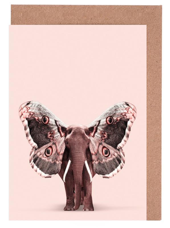 Elefanten, Schmetterlinge, Lustig, Papillophant -Grußkarten-Set