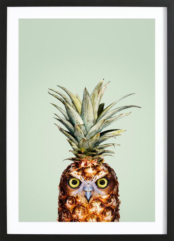 Pineapple Owl -Bild mit Holzrahmen