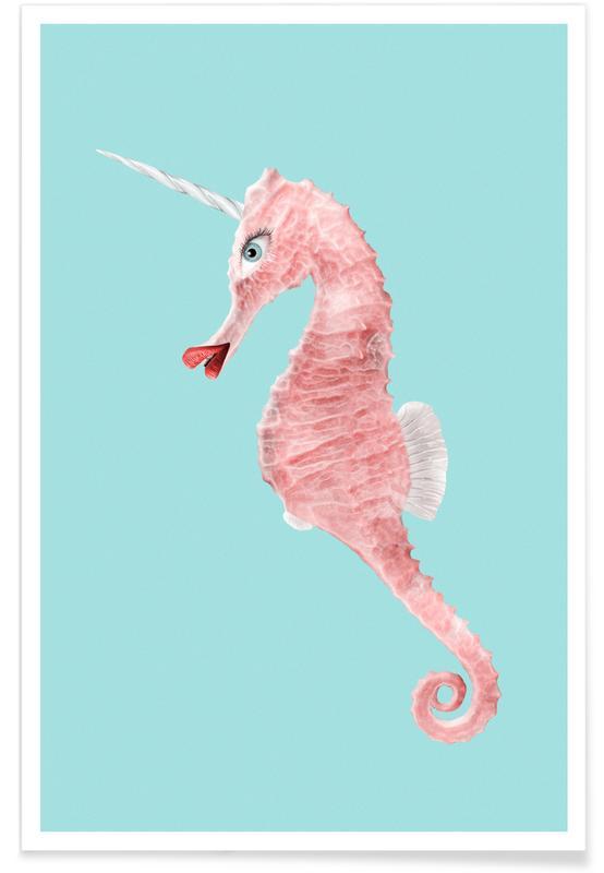 Zeepaardjes, Eenhoorns, Grappig, Sea Unicorn poster