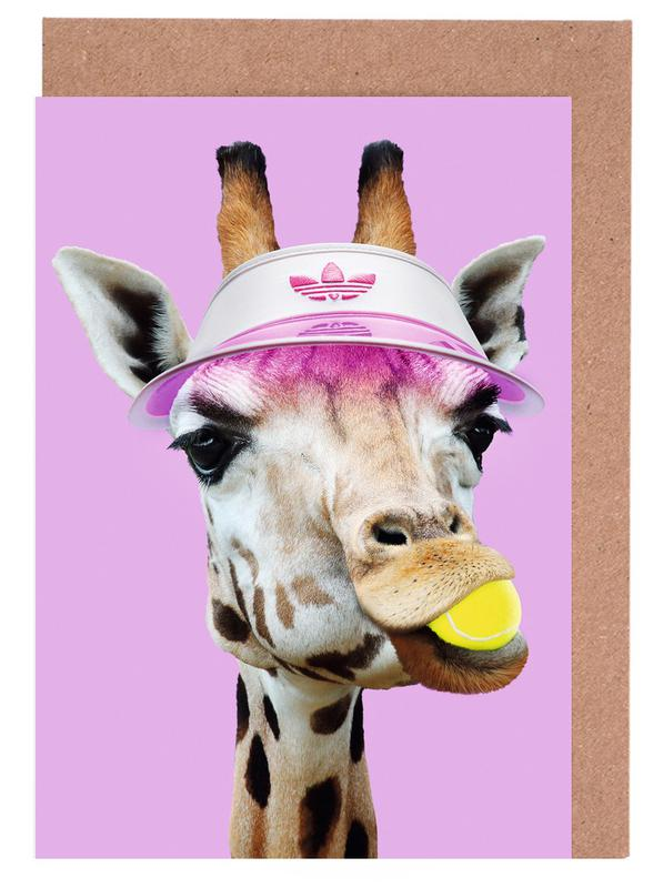 Tennis Giraffe Greeting Card Set
