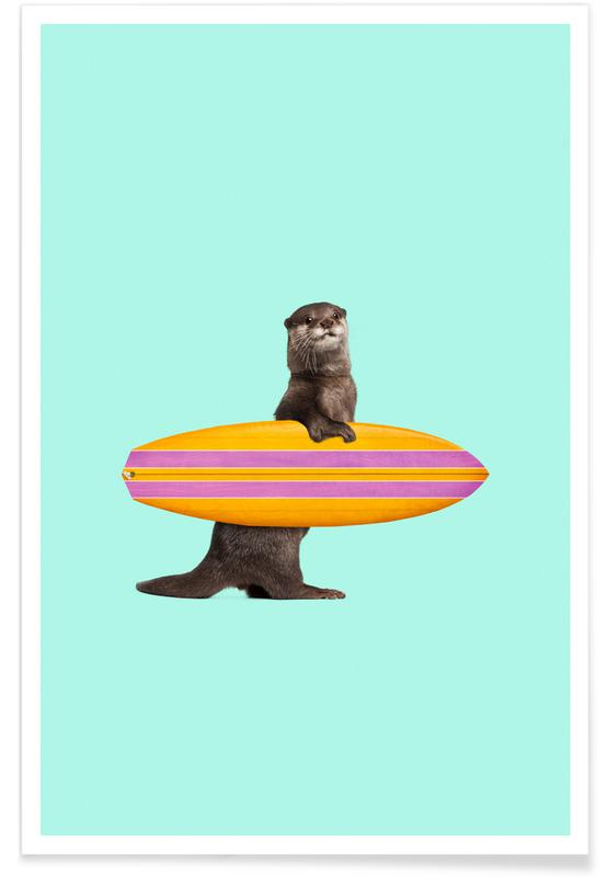 Funny, Otters, Surfing Otter Poster