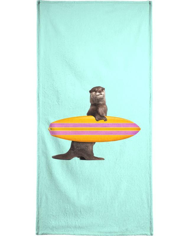 Surfing Otter Beach Towel