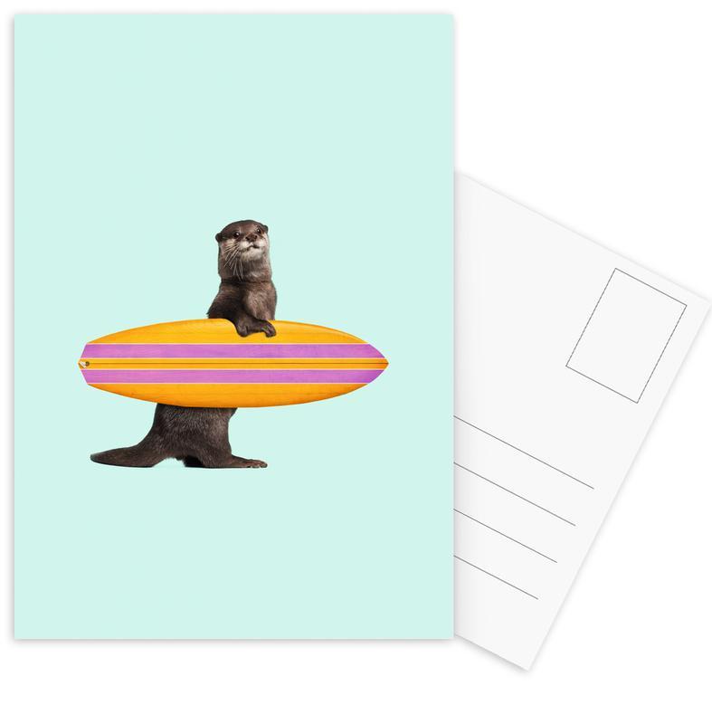 Grappig, Otters, Surfing Otter ansichtkaartenset