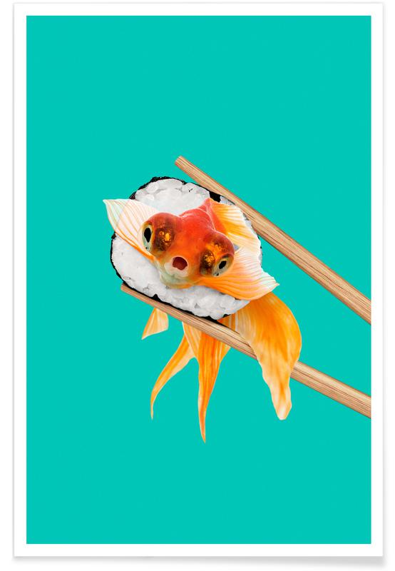 Fish, Funny, Sushi Goldfish Poster