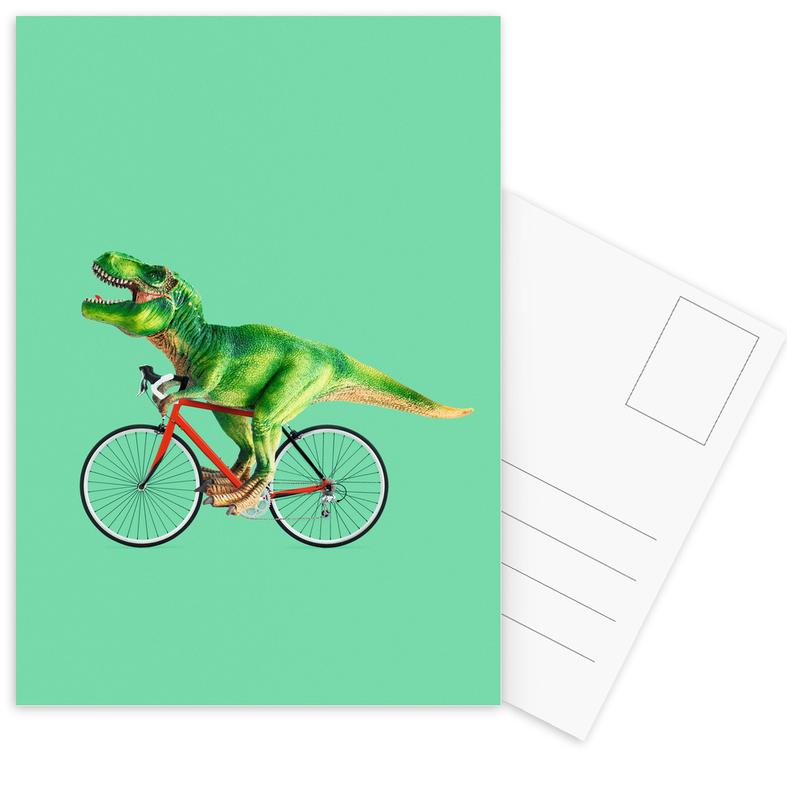 Dinosaurier, Kinderzimmer & Kunst für Kinder, Lustig, T-Rex Bike -Postkartenset