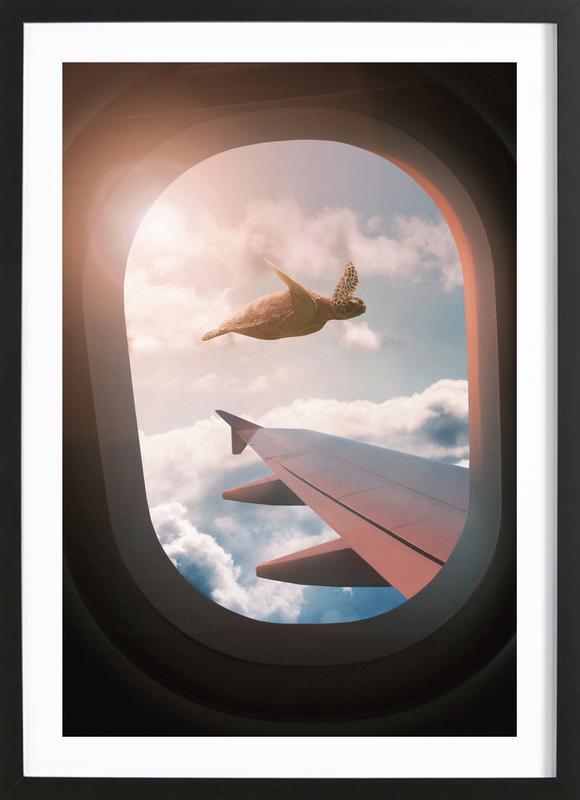 Flying Turtle Framed Print